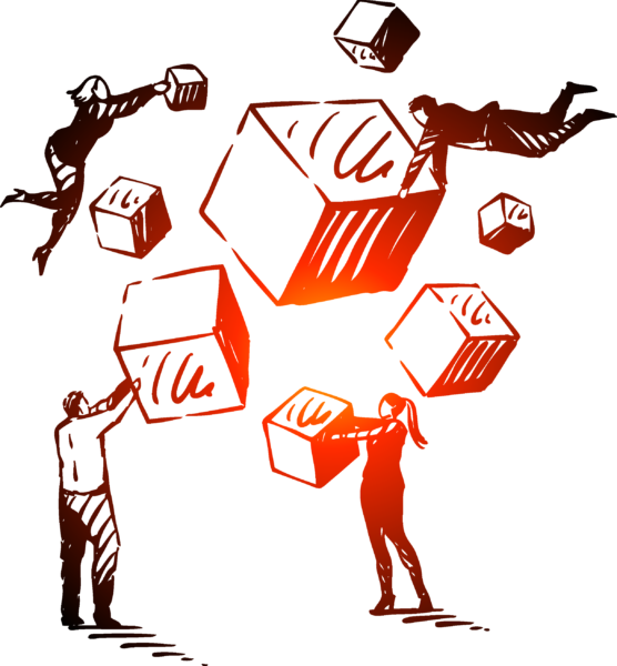 Four people floating in air and holding onto boxes illustration