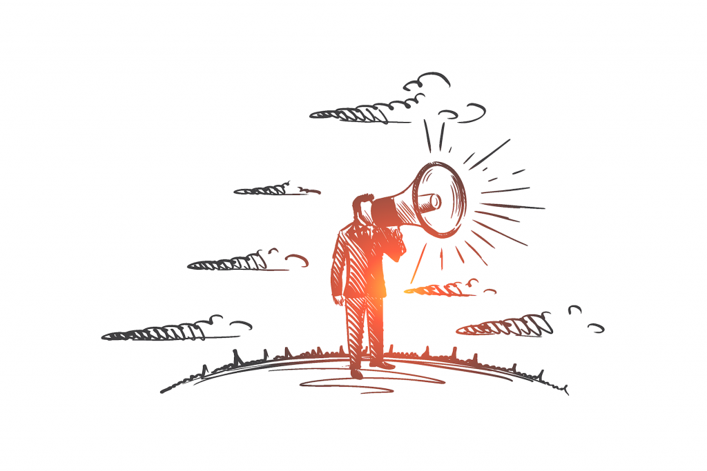 Hand drawn illustration of person with a megaphone.