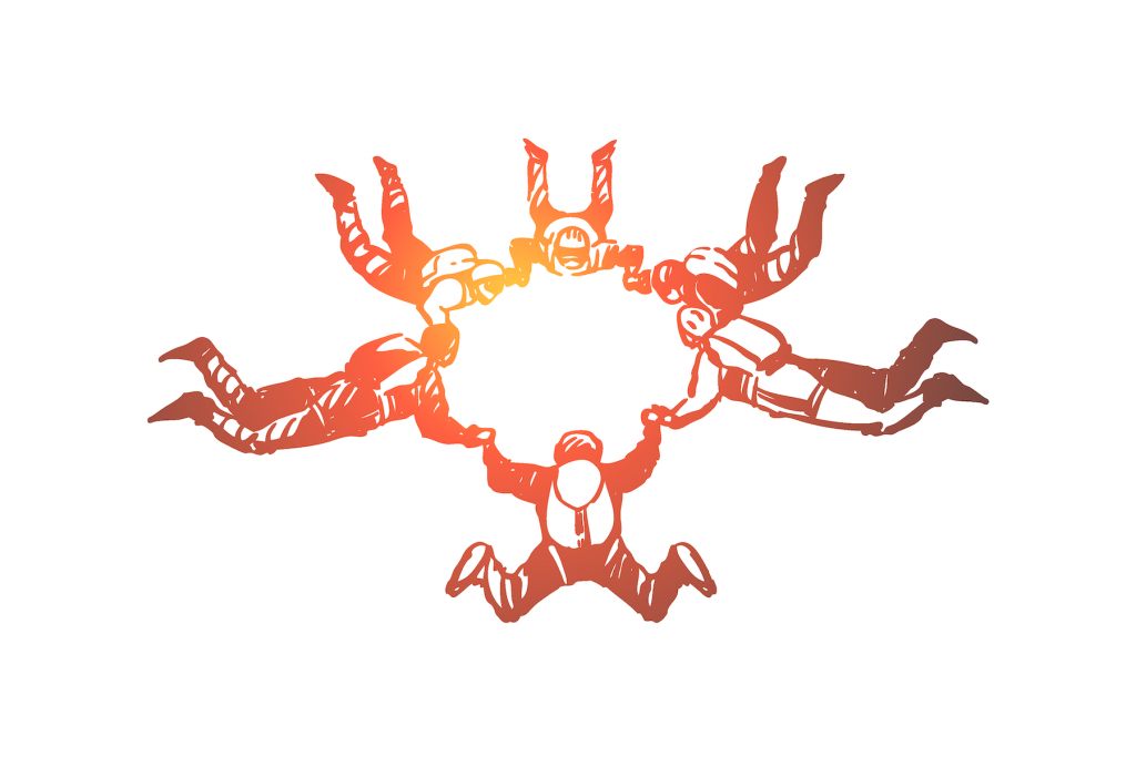 Hand drawn illustration of a group of parachuters freefalling and holding each other's hands in a circle formation.